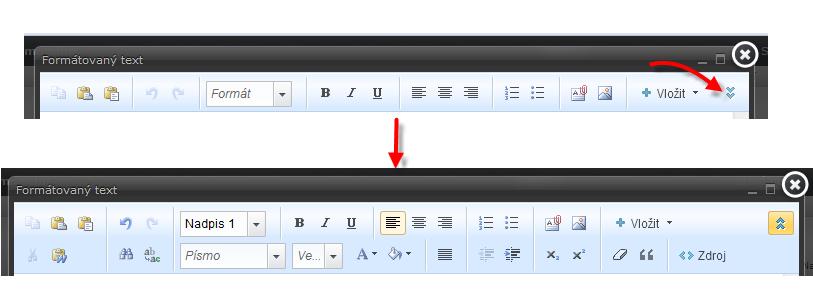 Přepnutí do pokročilého nastavení editoru textu