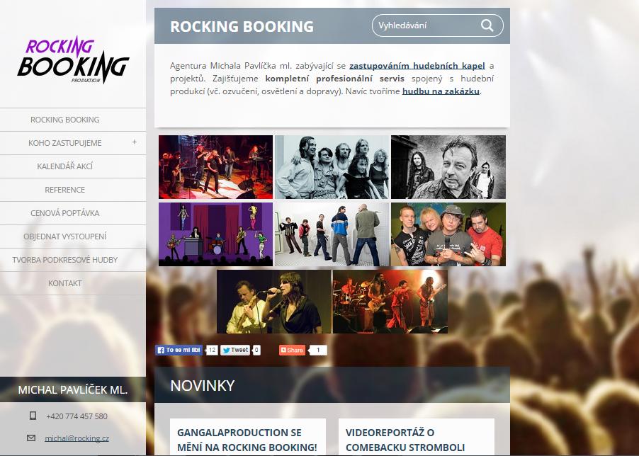 Úvodní stránka webu rocking.cz