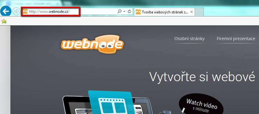 Umístění URL adresy webových stránek v prohlížeči