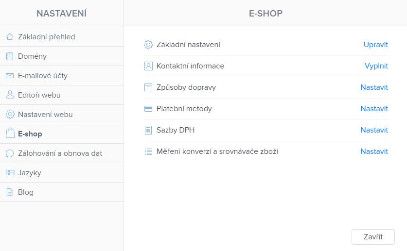 Nastavení e-shopu