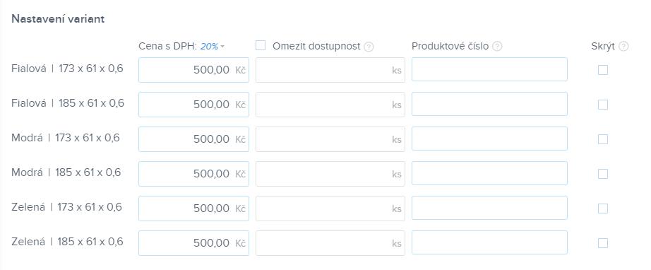 Nastavení ceny, dostupnosti a zobrazení jednotlivých variant